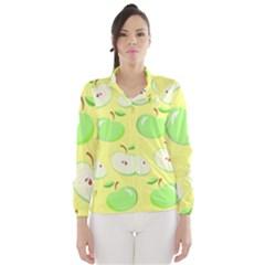 Apples Apple Pattern Vector Green Wind Breaker (Women)