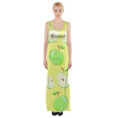 Apples Apple Pattern Vector Green Maxi Thigh Split Dress