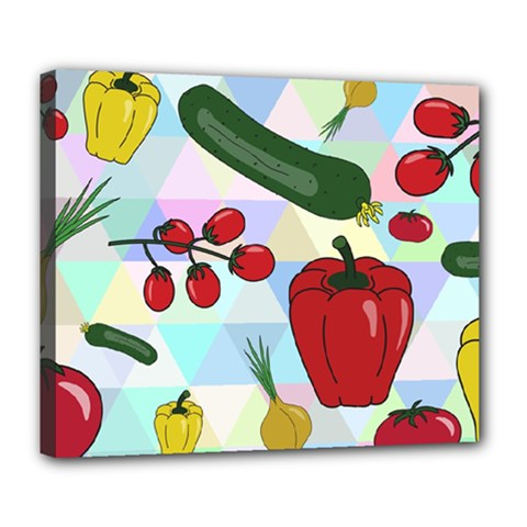 Vegetables Cucumber Tomato Deluxe Canvas 24  x 20