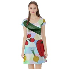 Vegetables Cucumber Tomato Short Sleeve Skater Dress