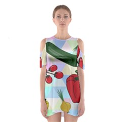 Vegetables Cucumber Tomato Shoulder Cutout One Piece