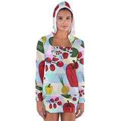 Vegetables Cucumber Tomato Women s Long Sleeve Hooded T-shirt