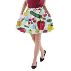 Vegetables Cucumber Tomato A Line Pocket Skirt