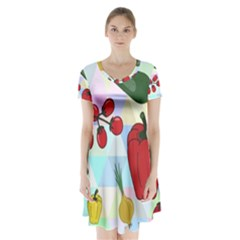 Vegetables Cucumber Tomato Short Sleeve V Neck Flare Dress