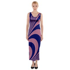 Fractals Vector Background Fitted Maxi Dress