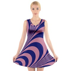 Fractals Vector Background V Neck Sleeveless Skater Dress