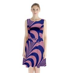 Fractals Vector Background Sleeveless Waist Tie Chiffon Dress