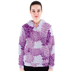 Floral Wallpaper Flowers Dahlia Women s Zipper Hoodie