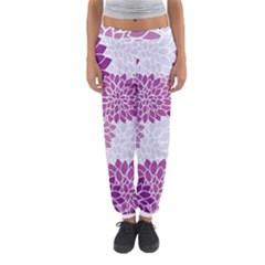 Floral Wallpaper Flowers Dahlia Women s Jogger Sweatpants