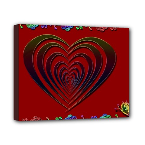 Red Heart Colorful Love Shape Canvas 10  X 8