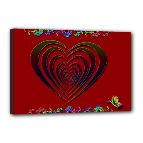 Red Heart Colorful Love Shape Canvas 18  X 12