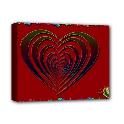 Red Heart Colorful Love Shape Deluxe Canvas 14  x 11