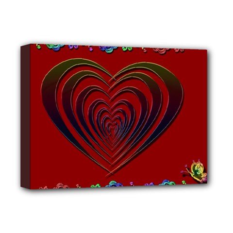 Red Heart Colorful Love Shape Deluxe Canvas 16  X 12
