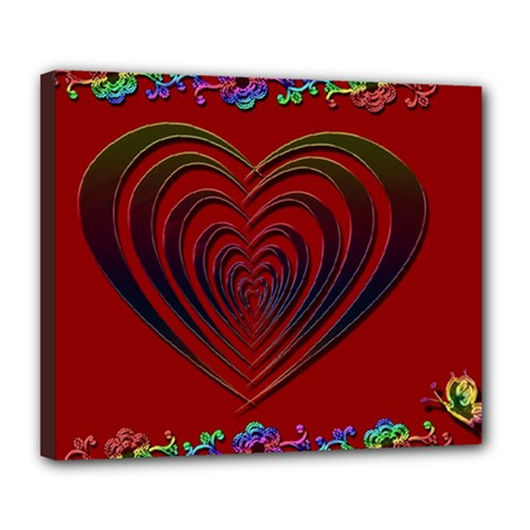 Red Heart Colorful Love Shape Deluxe Canvas 24  x 20