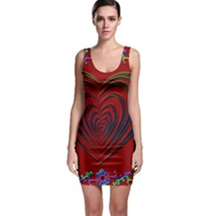 Red Heart Colorful Love Shape Sleeveless Bodycon Dress