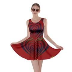 Red Heart Colorful Love Shape Skater Dress
