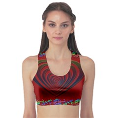 Red Heart Colorful Love Shape Sports Bra