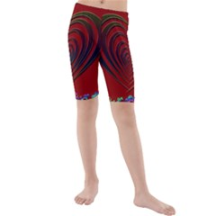 Red Heart Colorful Love Shape Kids  Mid Length Swim Shorts