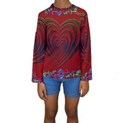 Red Heart Colorful Love Shape Kids  Long Sleeve Swimwear