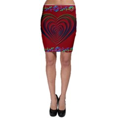 Red Heart Colorful Love Shape Bodycon Skirt