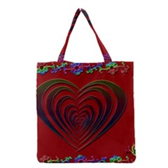 Red Heart Colorful Love Shape Grocery Tote Bag
