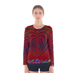 Red Heart Colorful Love Shape Women s Long Sleeve Tee