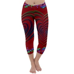 Red Heart Colorful Love Shape Capri Winter Leggings