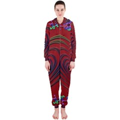 Red Heart Colorful Love Shape Hooded Jumpsuit (ladies)