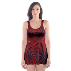 Red Heart Colorful Love Shape Skater Dress Swimsuit