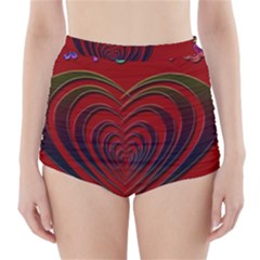 Red Heart Colorful Love Shape High Waisted Bikini Bottoms