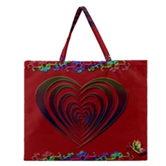 Red Heart Colorful Love Shape Zipper Large Tote Bag