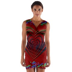 Red Heart Colorful Love Shape Wrap Front Bodycon Dress