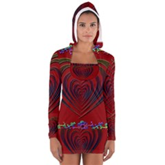 Red Heart Colorful Love Shape Women s Long Sleeve Hooded T Shirt