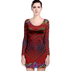 Red Heart Colorful Love Shape Long Sleeve Velvet Bodycon Dress