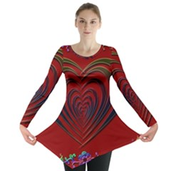 Red Heart Colorful Love Shape Long Sleeve Tunic