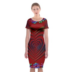Red Heart Colorful Love Shape Classic Short Sleeve Midi Dress