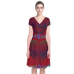 Red Heart Colorful Love Shape Short Sleeve Front Wrap Dress