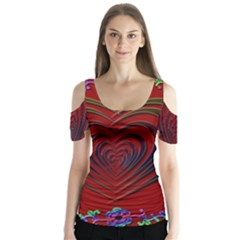 Red Heart Colorful Love Shape Butterfly Sleeve Cutout Tee