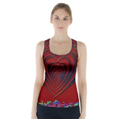 Red Heart Colorful Love Shape Racer Back Sports Top