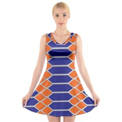 Pattern Design Modern Backdrop V Neck Sleeveless Skater Dress