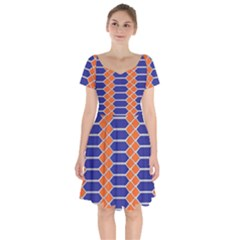 Pattern Design Modern Backdrop Short Sleeve Bardot Dress