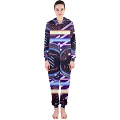 Abstract Sphere Room 3d Design Hooded Jumpsuit (Ladies)