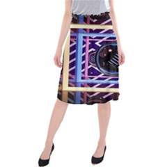 Abstract Sphere Room 3d Design Midi Beach Skirt