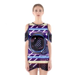Abstract Sphere Room 3d Design Shoulder Cutout One Piece
