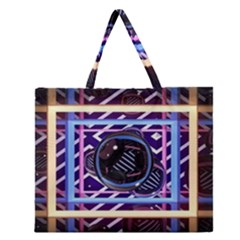 Abstract Sphere Room 3d Design Zipper Large Tote Bag