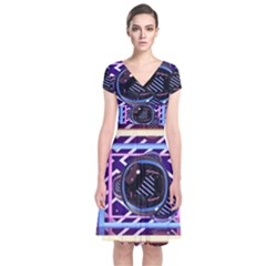 Abstract Sphere Room 3d Design Short Sleeve Front Wrap Dress