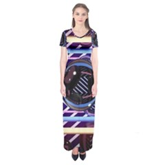 Abstract Sphere Room 3d Design Short Sleeve Maxi Dress