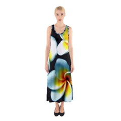 Flowers Black White Bunch Floral Sleeveless Maxi Dress