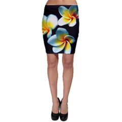 Flowers Black White Bunch Floral Bodycon Skirt