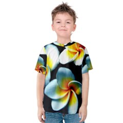 Flowers Black White Bunch Floral Kids  Cotton Tee